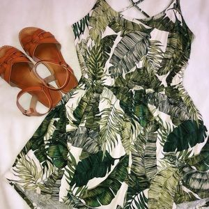 H&M Divided Leaf Print Romper